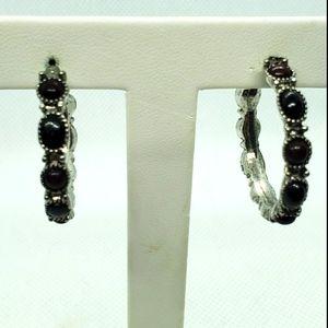 Chaps Black, Brown, & Silver Hoop Earrings